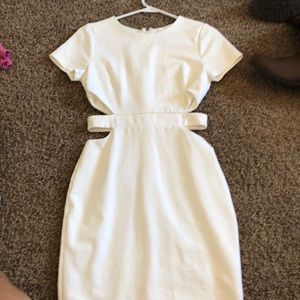 cute white dress with cut outs on the side